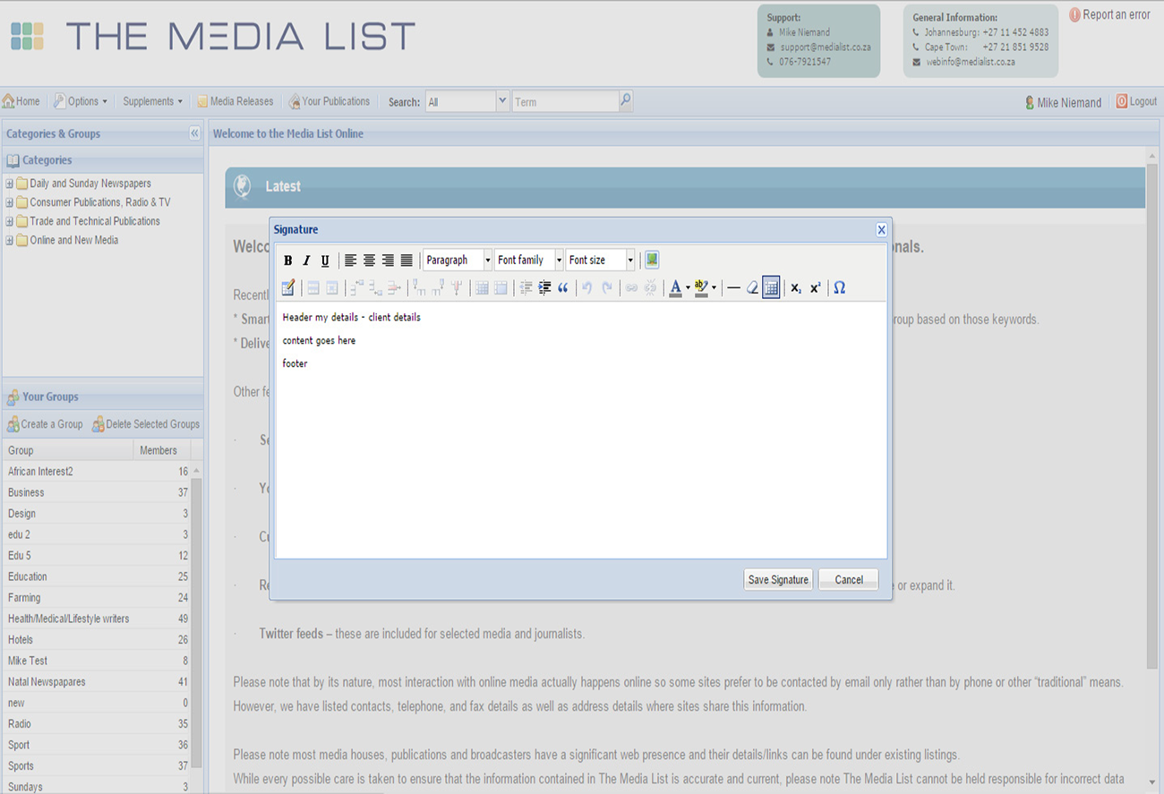 Screenshot of a list export